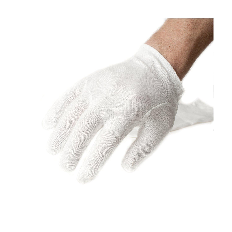 Incutex 3 Paar Stoffhandschuhe aus 100 % Baumwolle, ideale Arbeitshandschuhe und Unterziehhandschuhe, weiß #6097_3.