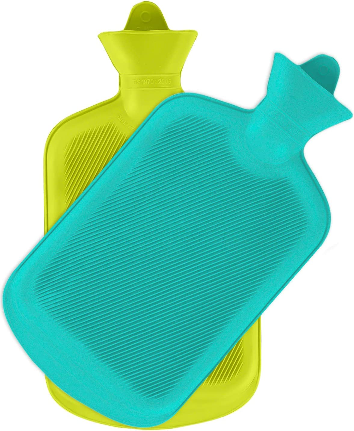 SteadMax Hot Water Bottle, Natural Rubber -BPA Free- Durable Hot Water Bag for Hot Compress and Heat Therapy, Green and Turquoise Color (2 Pack)