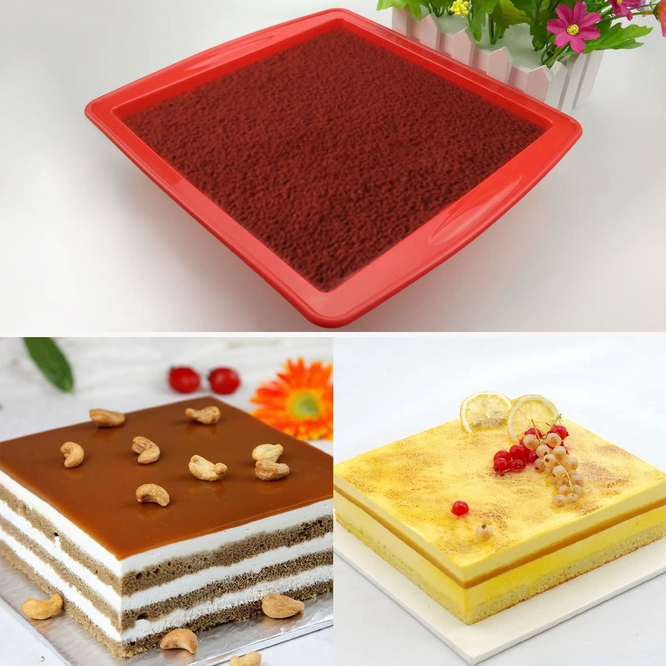 Pizza(Rectangle) Bread Loaf Tins SILIVO 8.9x3.7x2.4 Silicone Non Stick Baking Tray Cake Bakeware Baking Moulds Tins for Cakes Pancakes Pie