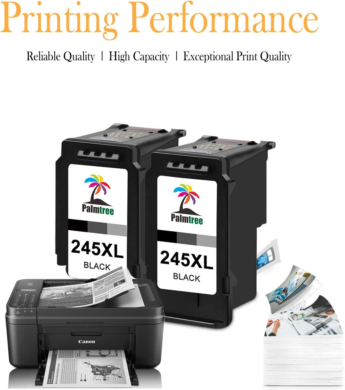 Palmtree Remanufactured 245XL Black Ink Cartridge Replacement for Canon PG-245 PG-245XL PG 245 245XL 245 XL Used in Canon PIXMA MX492 MX490 MG2920 MG2420 MG2520 MG2522 IP2820 2 Black