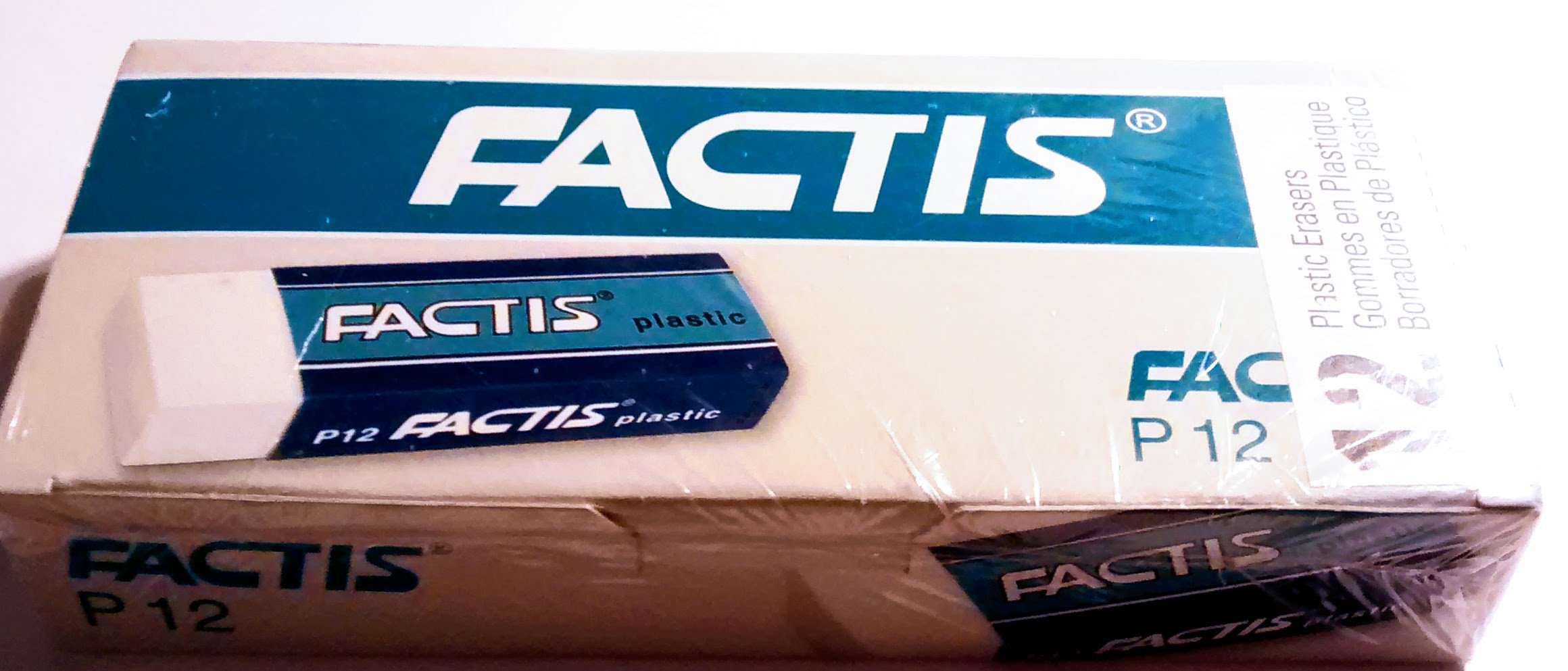 Factis plastic erasers, 12 count