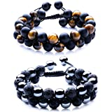 WRCXSTONE Natural Stone Bracelet Mens Black Lava Rock Bracelet Tiger Eye Gemstone Bracelet Yoga Essential Oil Bracelet Charm Gift