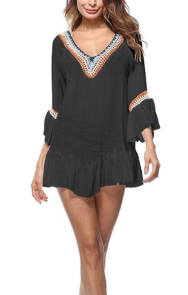 68774d261f METERDE Women  Ethnic Flounced Crochet Mini Dress Swim Cover Up Black