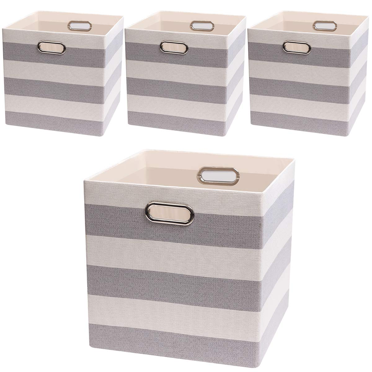 Posprica Large Collapsible Storage Bins Boxes Cubes Basket Containers Drawers for Nurseries,Offices,Closets,Home Décor - 13''×13'',4pcs,Grey/Beige Stripes