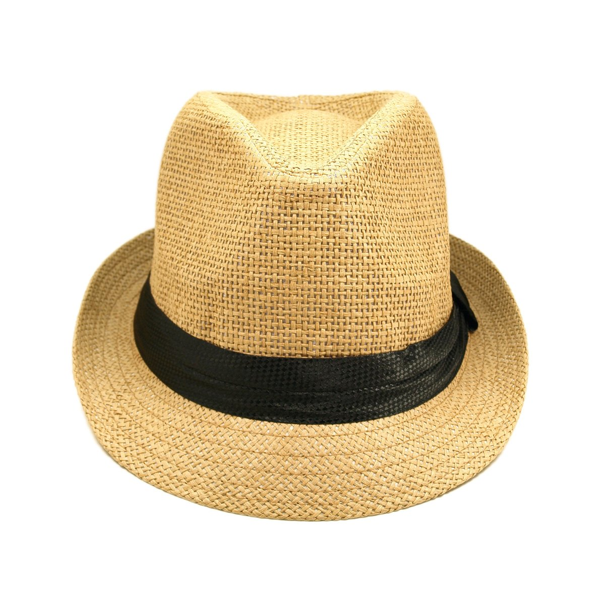Classic Tan Fedora Straw Hat with Black Band at Amazon Women s Clothing  store  Straw Fedora Hats For Women df4bec567ce