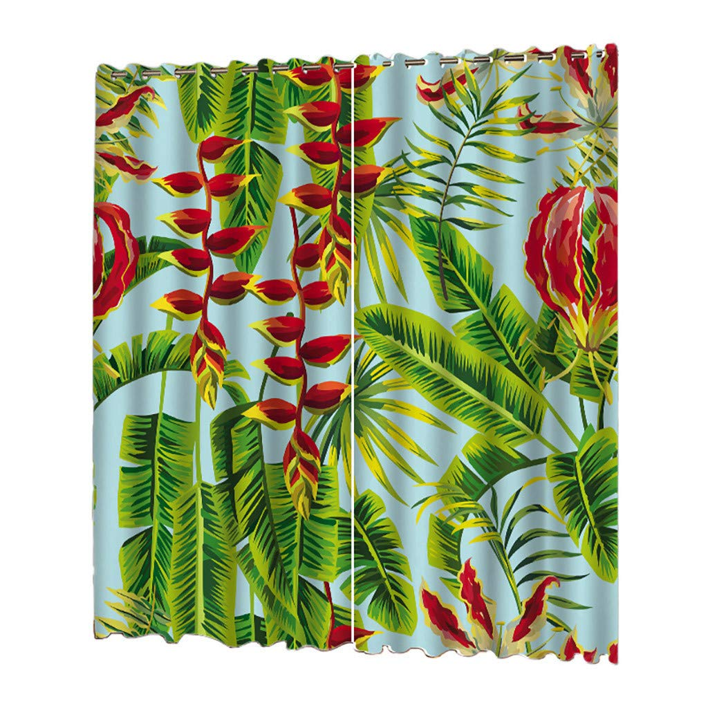 PRINCER 2 PCS Voile Window Curtain,Tropical Elegant Palm Leaves,Tulle Sheer Curtain Drape Valance 55 x 78 Inch Two Panels Set