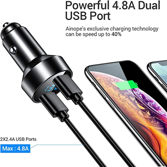 Logistt Car Charger,Dual USB Ports Durable Portable High Speed Car Charger for Mobile Phone