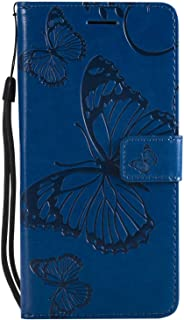 CUSKING Case for Huawei P10 Lite, Leather Flip Cover Magnetic Wallet Case with Butterfly Embossed Design, Case with Card Holders and Kickstand - Yellow