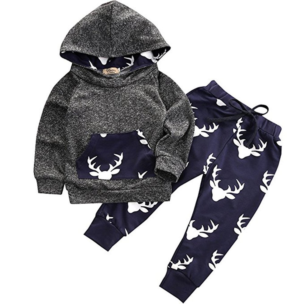 Toddler Infant Baby Boys Deer Long Sleeve Hoodie Tops Sweatsuit Pants Outfit Set (18-24 Months, Navy Blue)