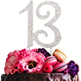 Hatcher lee Bling Crystal 13 Birthday Cake Topper - Best Keepsake | 13th Party Decorations Silver