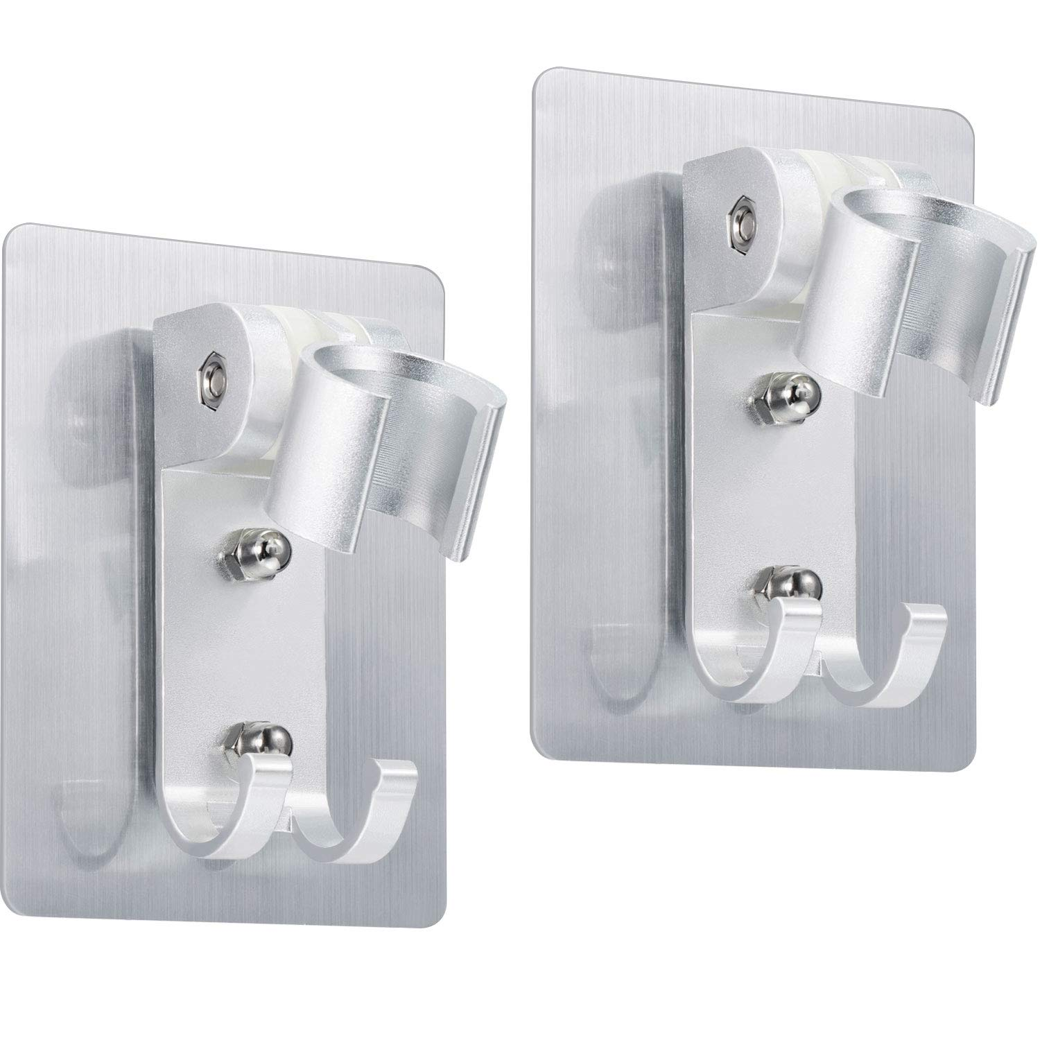2 Pack Shower Head Holder Strong Adhesive Shower Head Wall Mounting Bracket Adjustable Shower Wand Holder with 2 Hanger Hooks No Drill Need Chengu