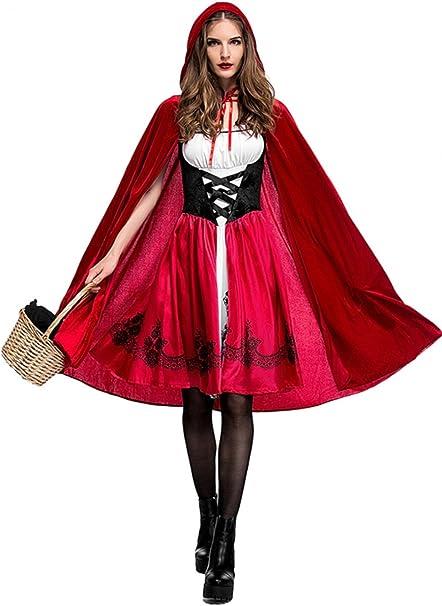 Qincos Disfraz de Caperucita Roja para Mujer, Traje Medieval Capa ...