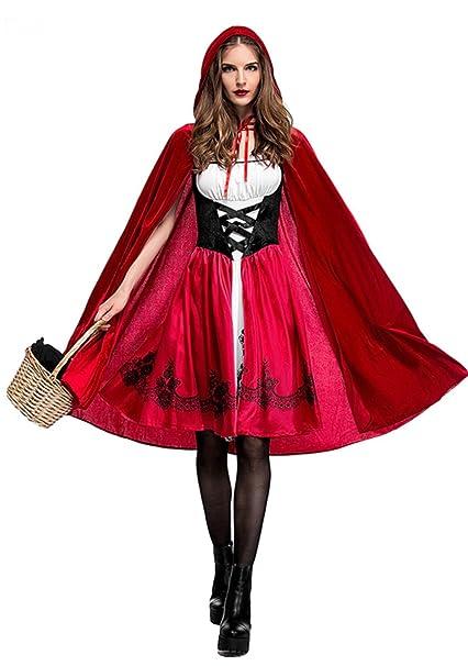 Qincos Disfraz De Caperucita Roja Para Mujer Traje Medieval Capa - Trajes-de-hallowen