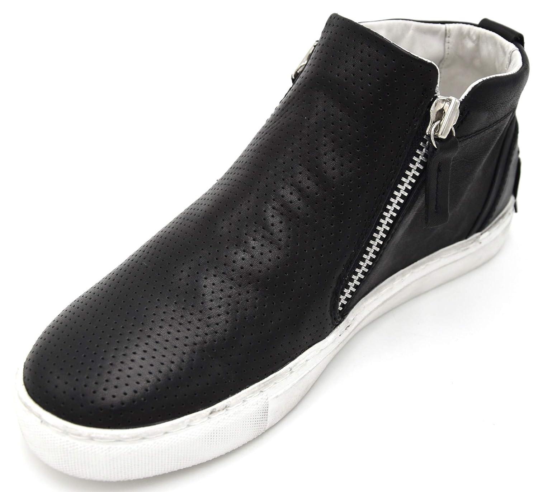 Unbekannt Crime Herren Turnschuhe Freizeitschuhe Turnschuhe Casual Leder Art. 11343S17B 39 schwarz schwarz