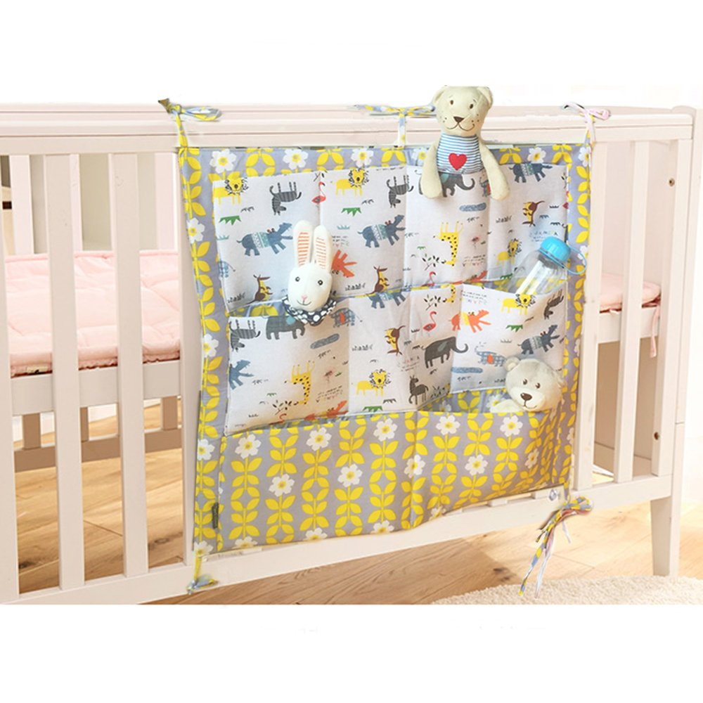 Lovely Baby Nursery Organiser Cotton Hanging Storage Bag for Bedside Crib Cot Changing Table FakeFace