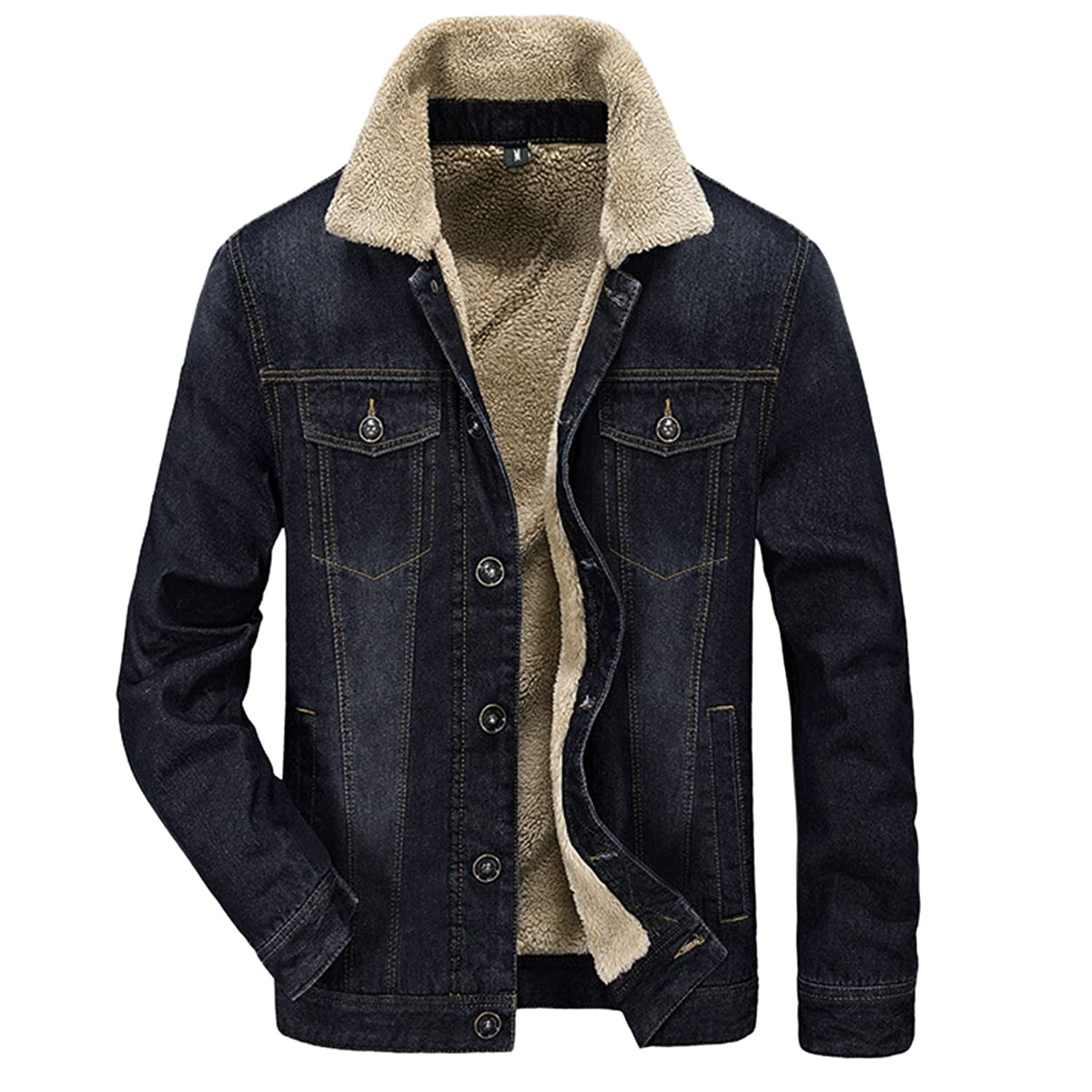 Sue&Joe Men's Denim Jacket Warm Sherpa Collar Slim Fit Lined Outwear Parka Tops