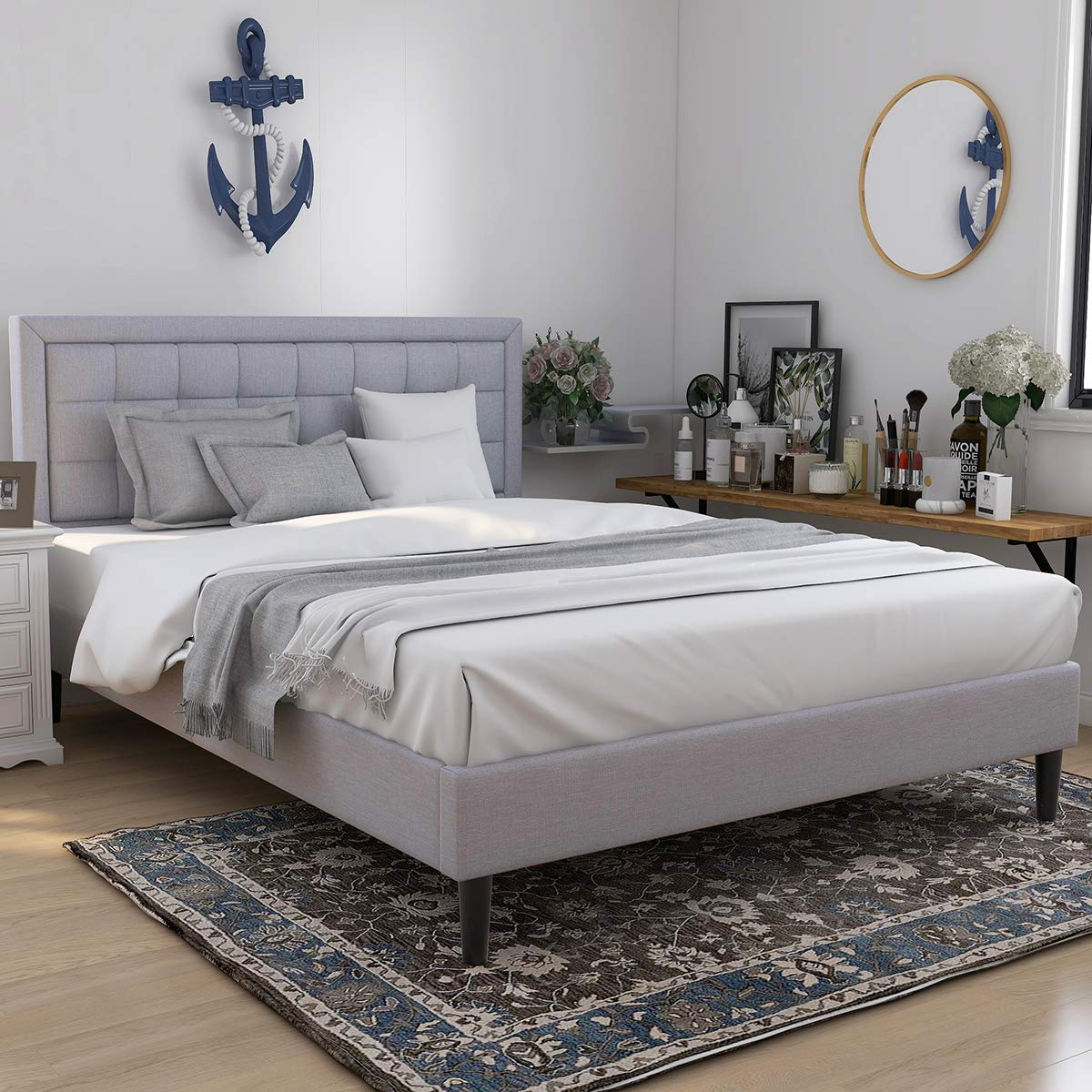 Upholstered Button Tufted Platform Bed