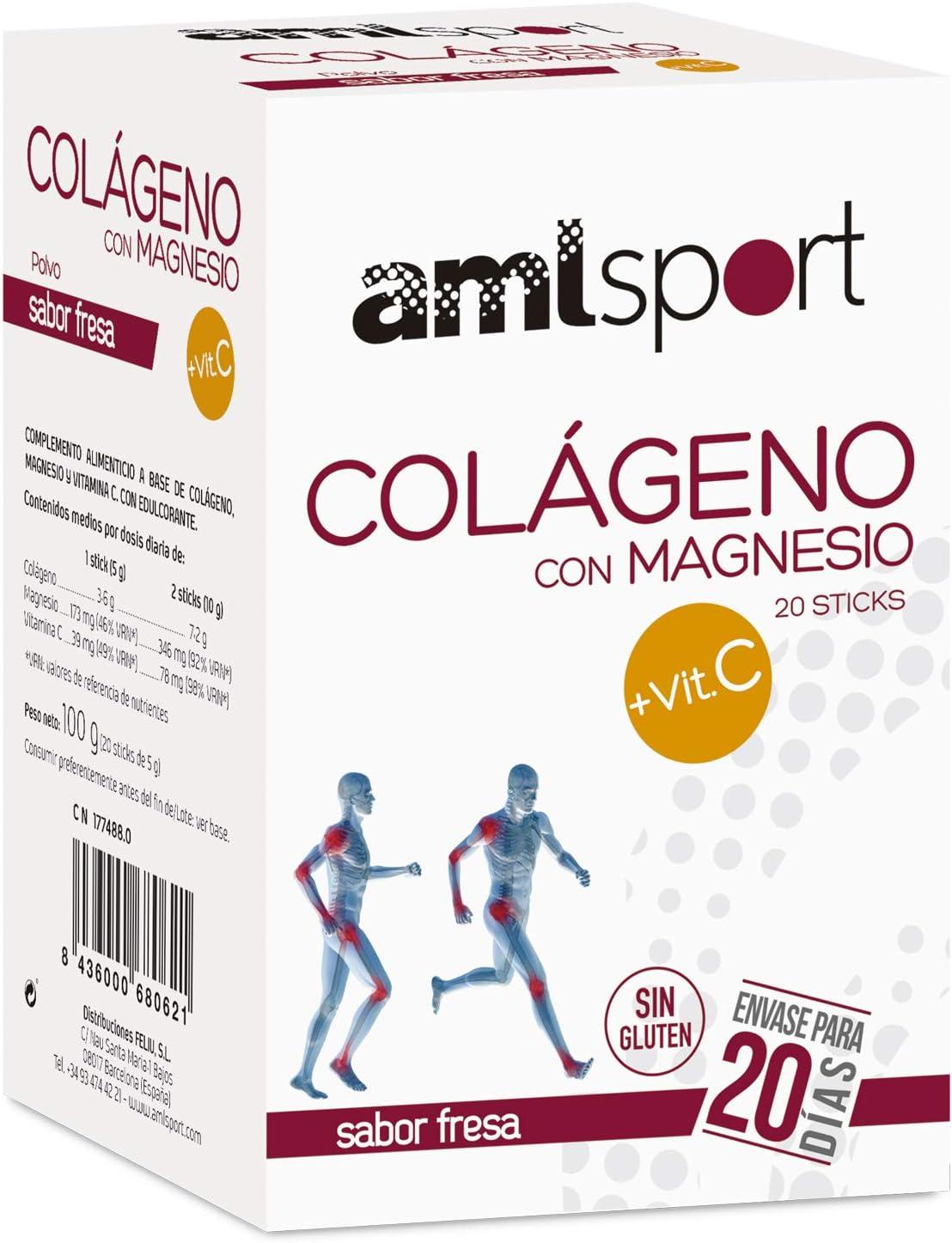 AMLsport - Colágeno con magnesio + VIT C – 20 sticks (sabor fresa). Articulaciones fuertes. Regenerador de tejidos con colágeno hidrolizado tipo 1 y 2. Envase para 20 días de tratamiento.: Amazon.es: Deportes y aire libre