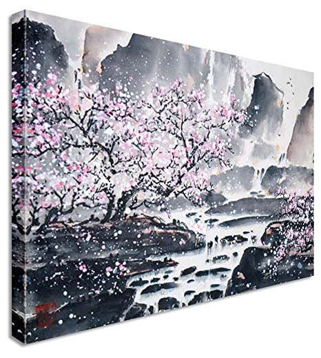 Large Abstract Japanese Painting Cherry Blossom Canvas Wall Art Pictures  40x30 Inches
