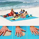 Sable Tapis de plage gratuit – Ultra léger Sable Proof gratuit Tapis de plage, étanche Portable anti-inondation sans couverture pour l'été de plage, pique-nique, randonnée, extérieur, 200*200cm (Bleu)