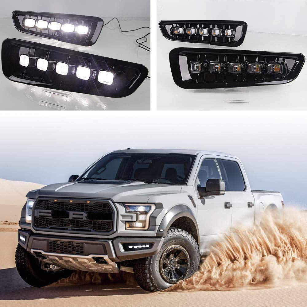 Pair LED DRL For Ford F150 Raptor 2016 2017 2018 LED Daytime Running Light Fog Lamp W/Signal (White & Yellow) MOTORFANSCLUB