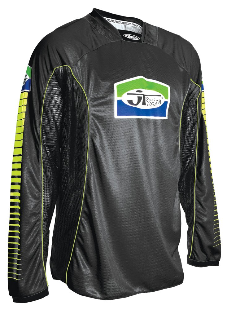 JT Racing USA Men's Pro-Tour Jersey (Black/Green, Medium)
