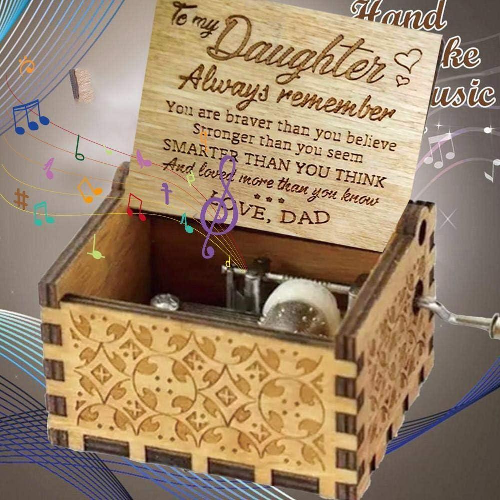 You Are My Sunshine for Daughter klassisch Retro-Holz zum Sch/ütteln von Hand und als Dekoration f/ür Tochter und Freundin handgeschnitzt TOMMY LAMBERT Musik-Box