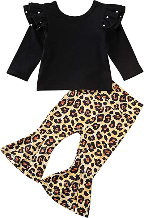 Fashion Toddler Baby Girls Lace Off Shoulder Tops+Leopard Print Pants Set Outfit
