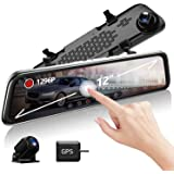 """VVCAR V17 Dual 1080P Mirror Dash Cam with 12"""" IPS Full Touch Screen, Waterproof Backup Rear View Camera, Night Vision, Loop R"""