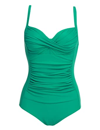 9009ca72c6f16 Ekouaer Retro Pinup Bathing Suit Swimwear One Piece Sexy Sailor Swimsuit  Tummy Control Swimsuit (Green, X-Large) at Amazon Women's Clothing store: