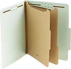 AmazonBasics Carpeta de archivos de clasificación y sujetadores, cartón prensado, 2 divisores, expansiones de 5.1 cm, tamaño carta, verde, paquete de 10