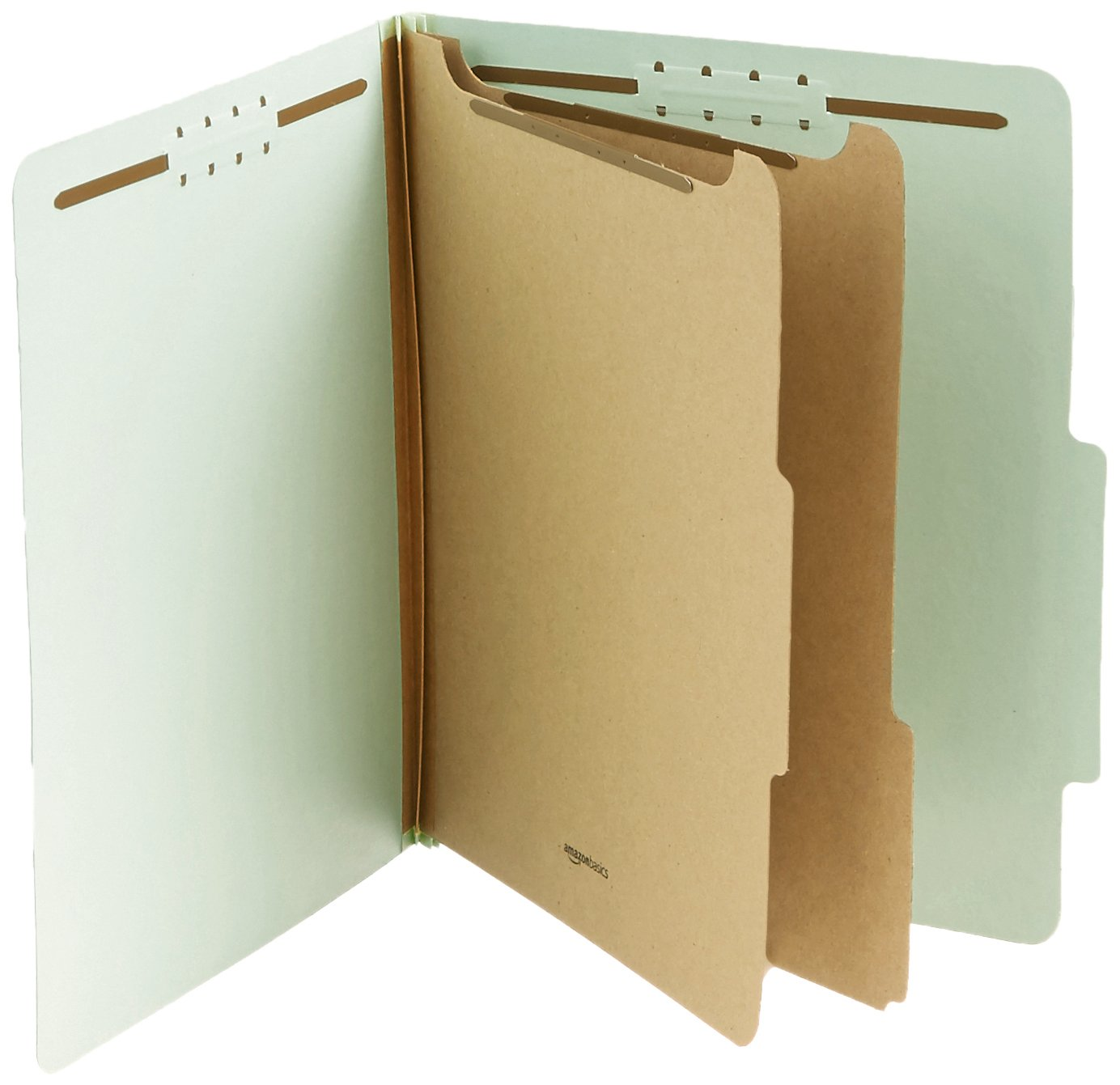 AmazonBasics Pressboard Classification File Folder with Fasteners, 2 Dividers, 2 Inch Expansion, Letter Size, Gray/Green, 10-Pack by AmazonBasics