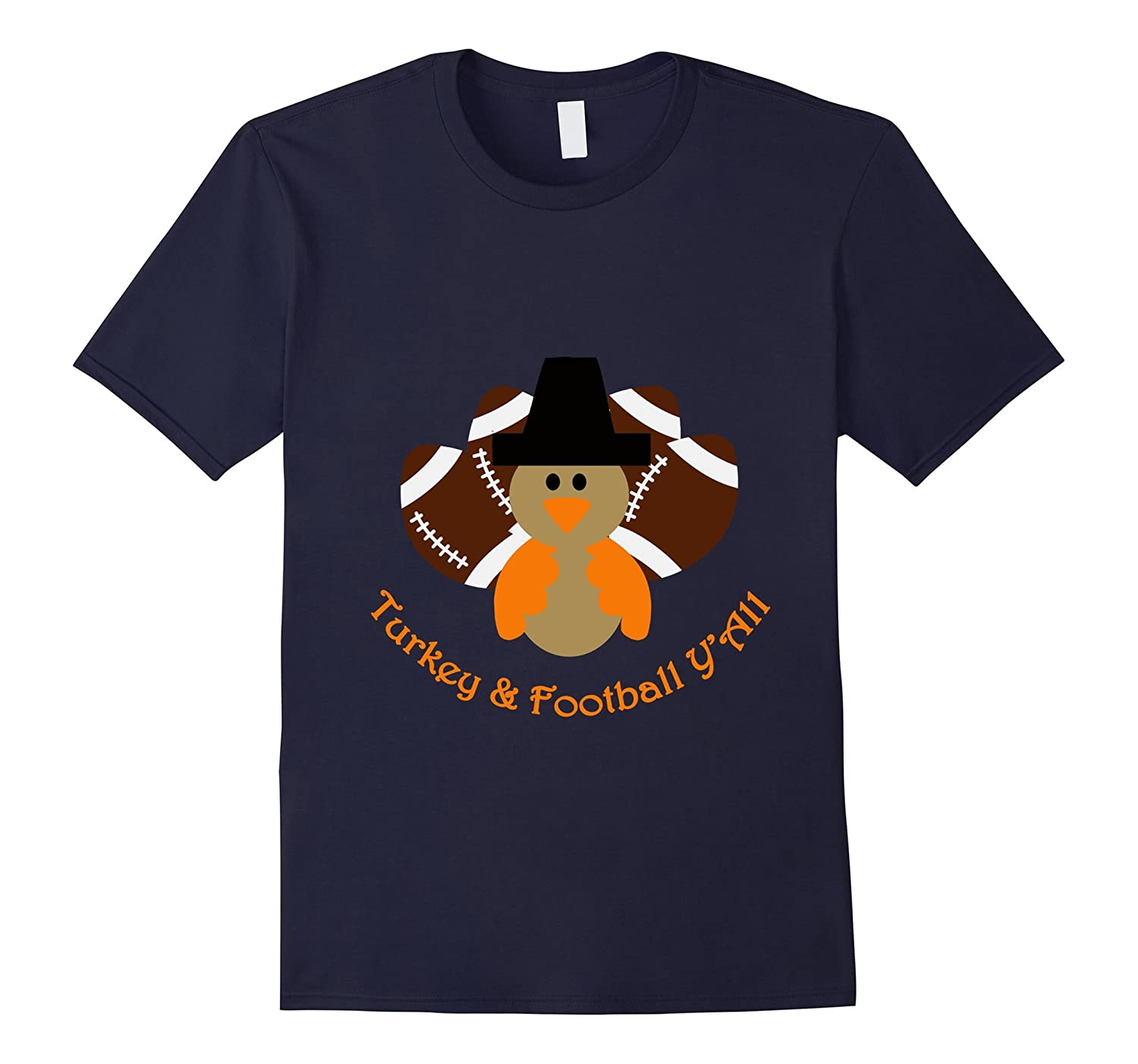 Turkey & Football Y'All fun and cute Thanksgiving tshirt-CL