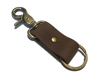 Llavero para cinturón, llavero de piel auténtica marrón ...