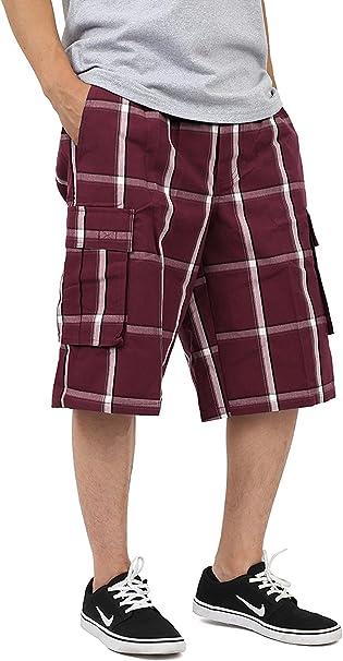 Shaka Wear Plaid Cargo Shorts for Men Sizes S-5XL