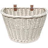 Colorbasket 01570 Adult Front Handlebar Wicker Bike Basket, White