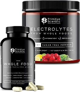 Primitive Scientific Whole Food Supplement for Women's Holistic Health (Bundle) | Women's Multivitamins (120 Vegetarian Capsules) + Sugar-Free Electrolyte Powder (180g) | 100% Natural, Non-GMO
