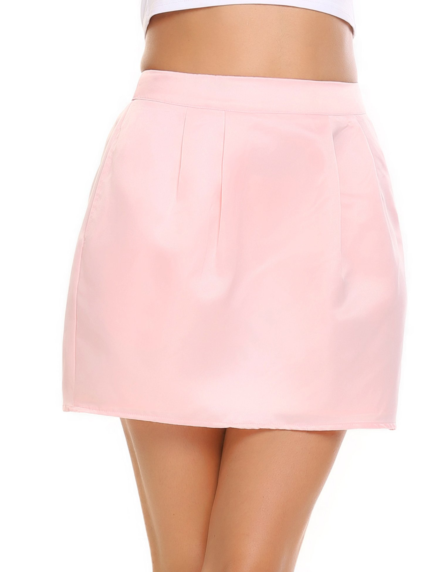 Zeagoo Women's A-line Mini Flared Skirt with Pocket and Lining Pink Medium