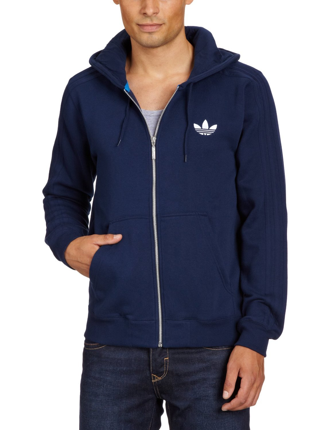 d6da46a5d8ed Adidas Originals SPO Hooded Flock Trefoil Top Hoodie Hoody Mens Size XL -  Navy  Amazon.co.uk  Clothing
