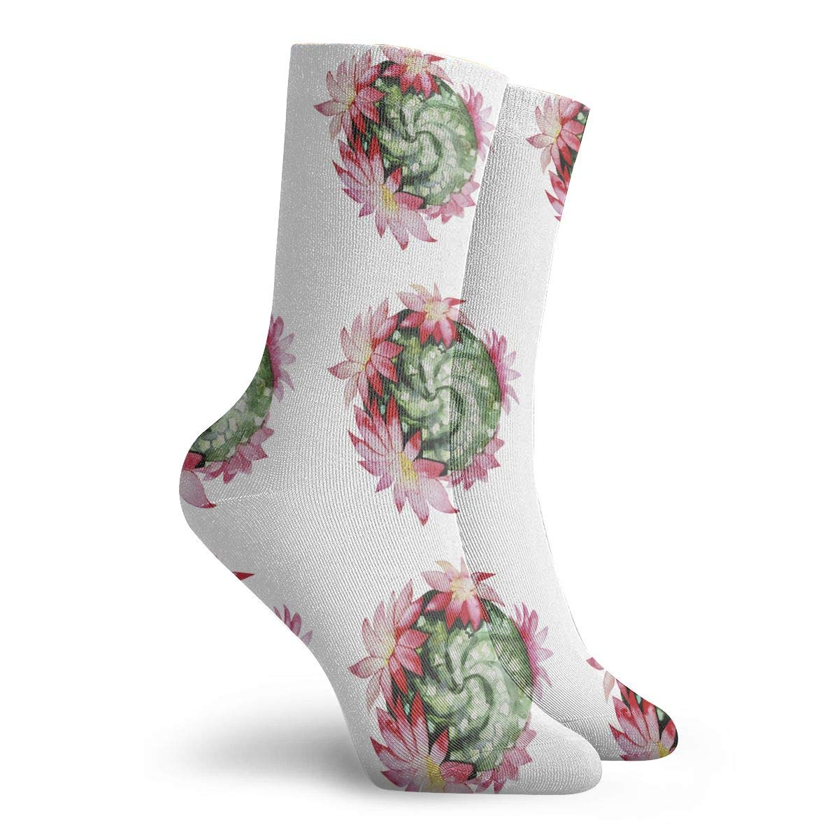 Unisex Watercolor Flowering Cactus Athletic Quarter Ankle Print Breathable Hiking Running Socks