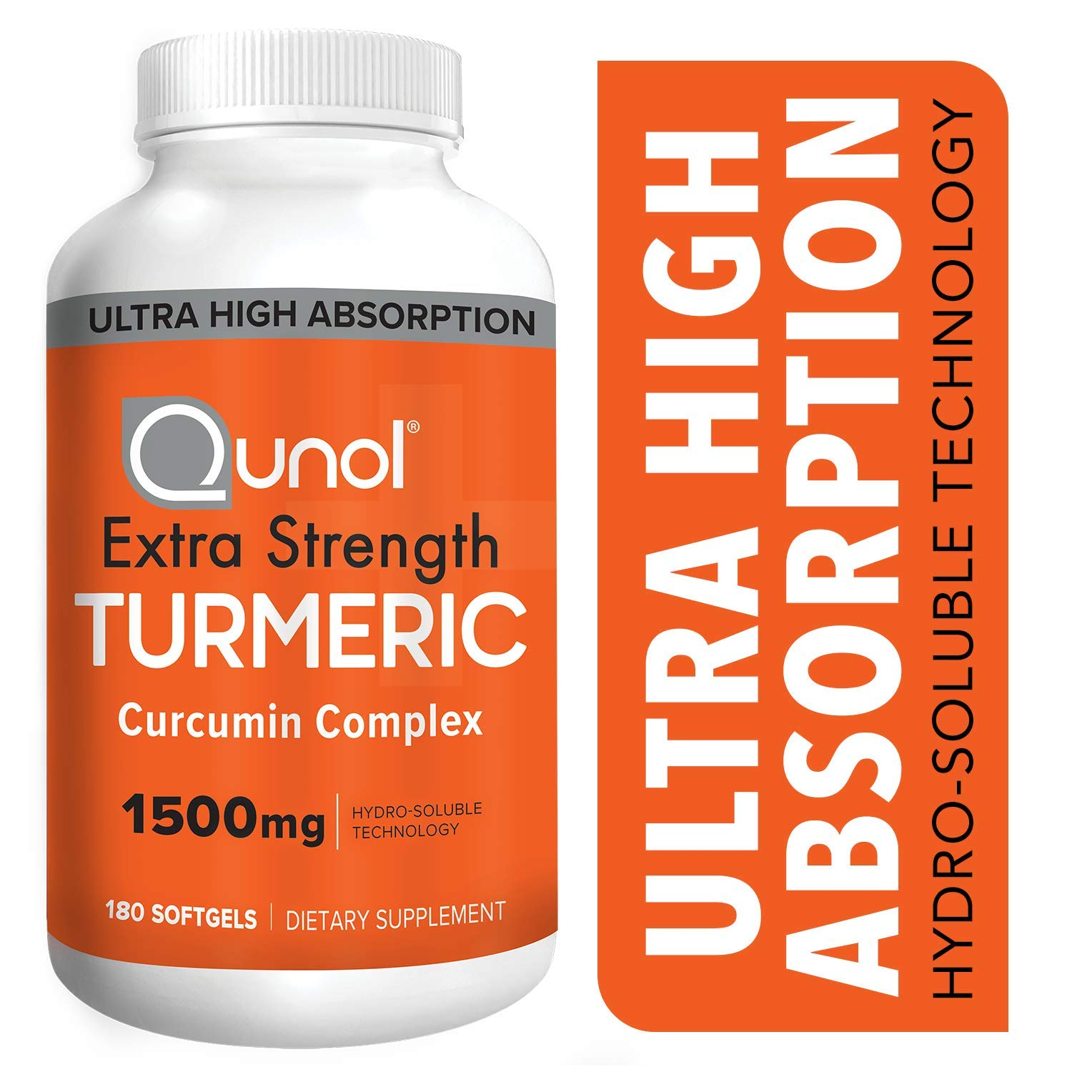 Turmeric Curcumin Softgels, Qunol with Ultra High Absorption 1500mg, Joint Support, Dietary Supplement, Extra Strength, 180 Softgels by Qunol