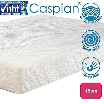 Caspian® Colchón de espuma viscoelástica, transpirable, fresco, hipoalergénico, de punto,