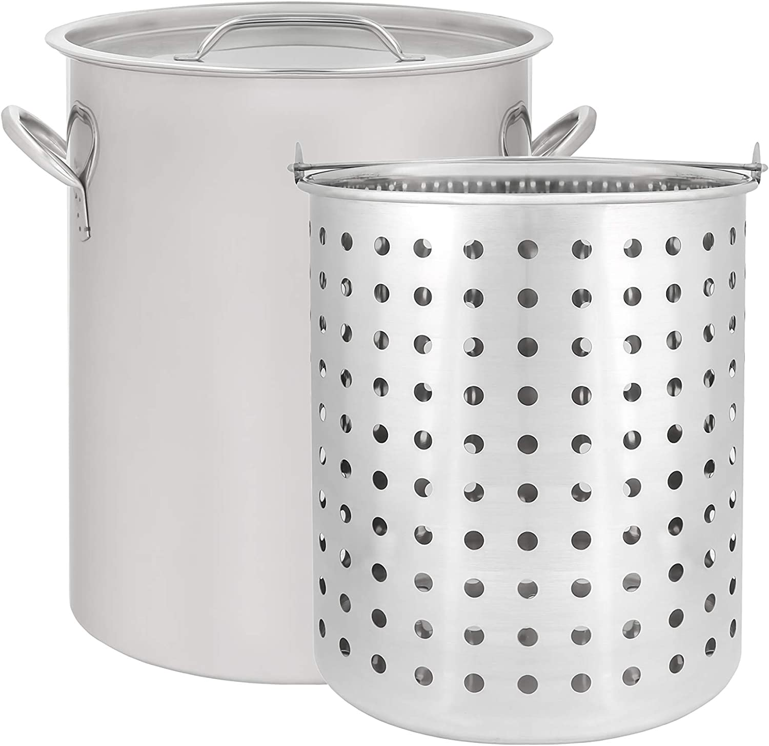 CONCORD 36 QT Stainless Steel Stock Pot w/ Basket. Heavy Kettle. Cookware for Boiling (36)