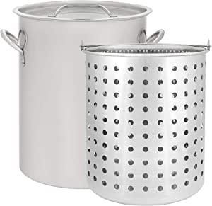 CONCORD 42 QT Stainless Steel Stock Pot w/ Basket. Heavy Kettle. Cookware for Boiling (42)