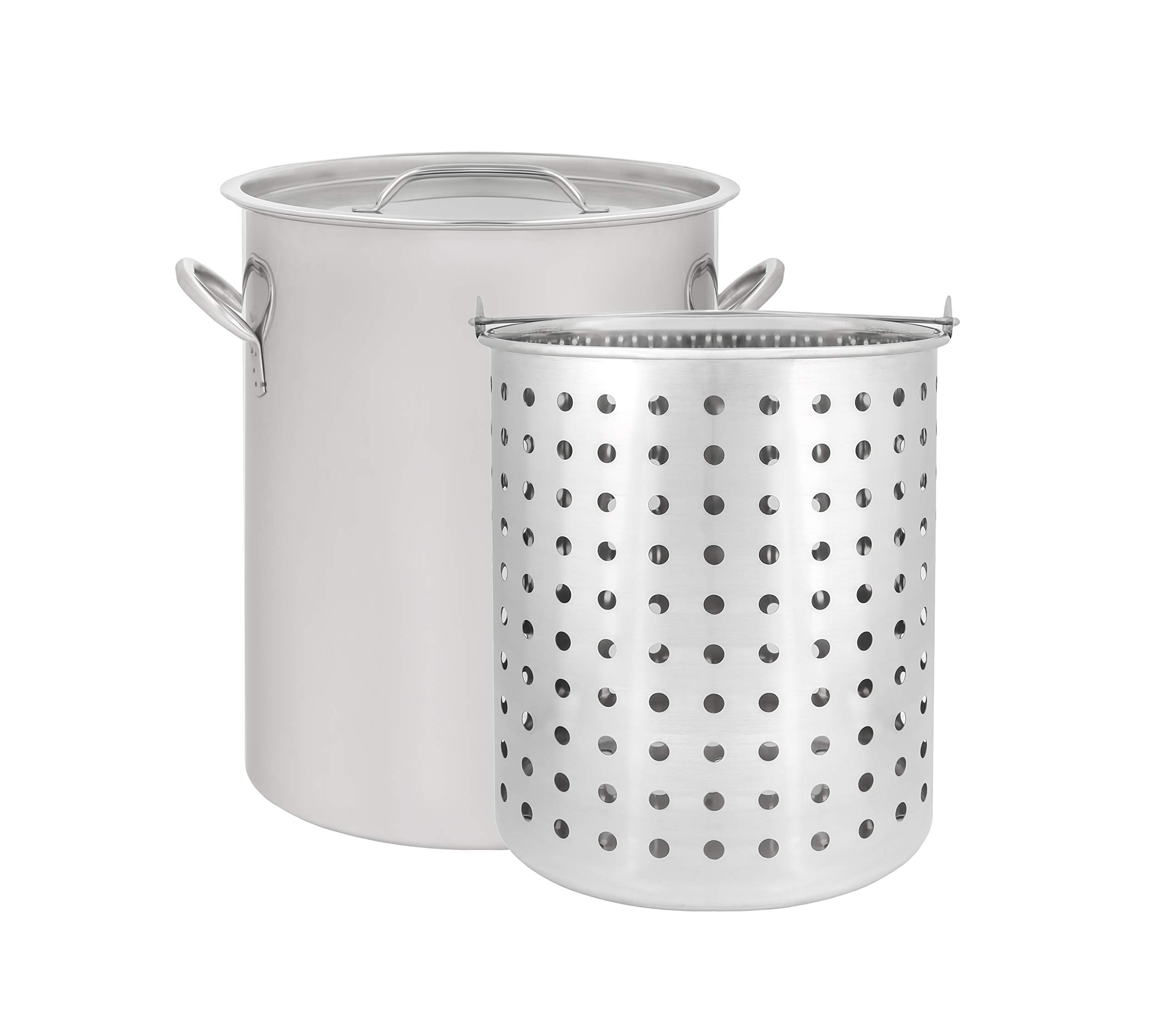 CONCORD 42 QT Stainless Steel Stock Pot w/Basket. Heavy Kettle. Cookware for Boiling (42) by Concord Cookware