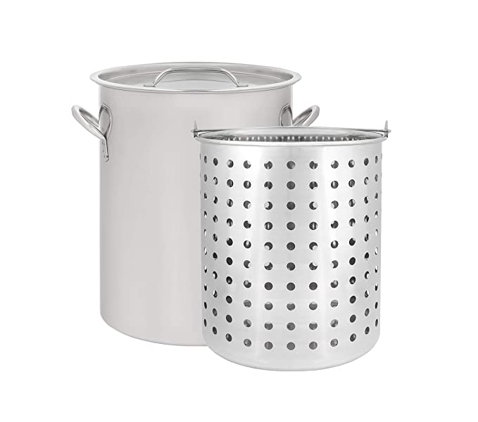CONCORD 36 QT Stainless Steel Stock Pot w/Basket. Heavy Kettle. Cookware for Boiling (36)