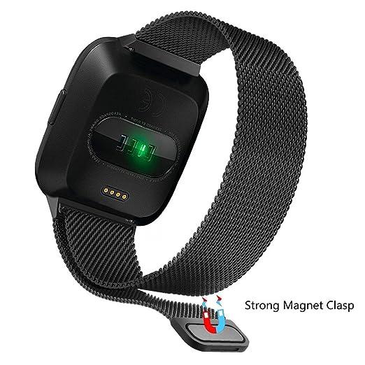 LANSKIRT Banda magnética milanesa del Acero Inoxidable del Lazo Correas metalicas para Relojes Recambio Brazalete Cambiar Correa Reloj para Fitbit Versa: ...