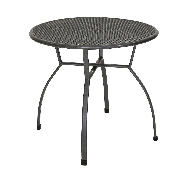 greemotion Tavolo da esterno in metallo Toulouse - Tavolo da giardino quadrato con ripiano reticolato - Tavolino da balcone con piedini regolabili, 70x70x72cm 416395.0