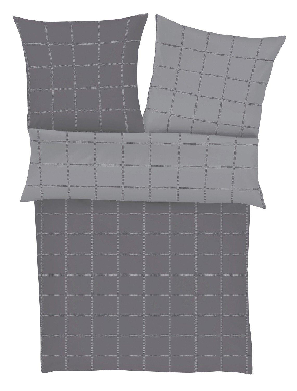 S.Oliver Mako-Satin Wendebettwäsche schwarz Label grau 135x200 cm + 80x80 cm