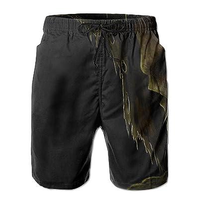 Boys Cute Christmas Sloth Classic Quick Dry Swim Trunks Elastic Drawstring Surfing Shorts with Pocket